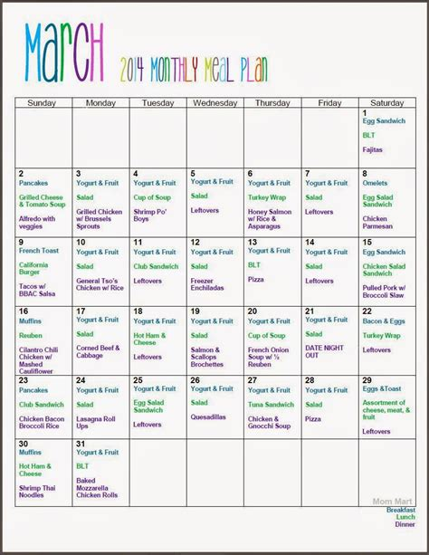mart march monthly meal planning freeprintable