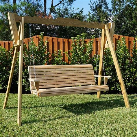 La Swings Rollback Cypress Wooden Porch Swing Stand Set