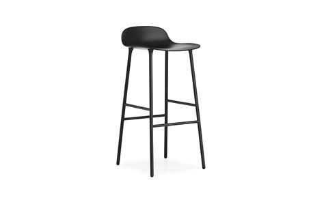 Normann Copenhagen Bar Stool by Form Chair Molded Plastic Shell Chair With Oak Legs