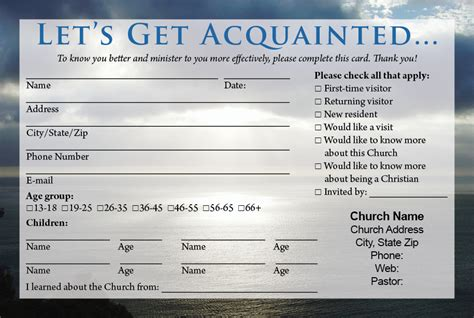 welcome card template church visitor card template