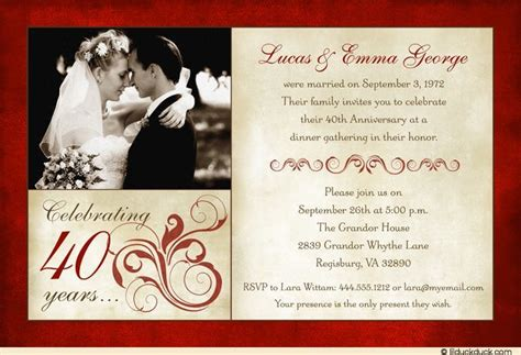 Invitation Letter Format For Wedding Anniversary Fashionable 40th Anniversary Invitation 1 Photo L 01 Jpg