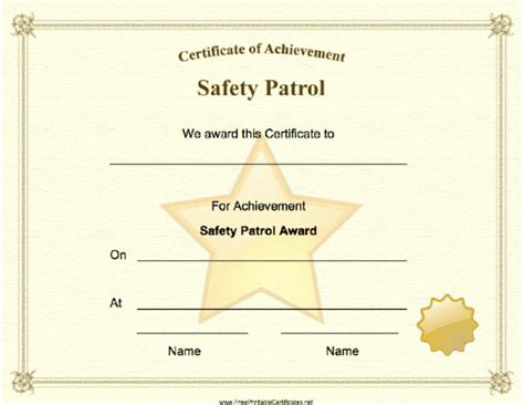 printable gold star certificate a big gold star and seal adorn this safety patrol