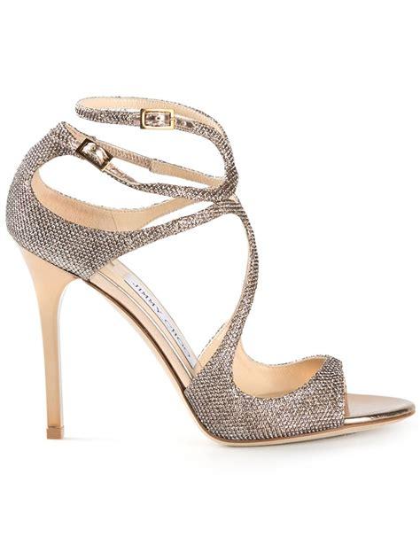 jimmy choo gold sandals jimmy choo lang sandals in gold metallic lyst