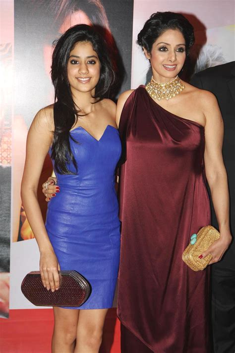 sridevi daughter photos sridevi with daughter jhanvi posing on the red carpet of