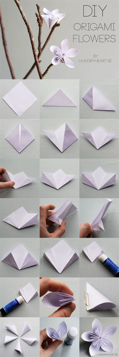 origami home decor diy origami flower step by step tutorial hungryheart se