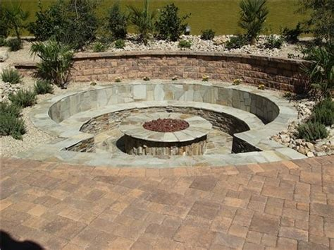 sunken backyard pit sunken patio firepit bench seat http images