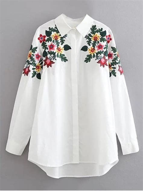 Kemeja Wanita White Floral Embroidered Shirt Size M 421362 floral embroidered cotton collared shirt white blouses l zaful