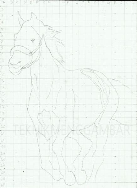 tutorial gambar kuda drawing world