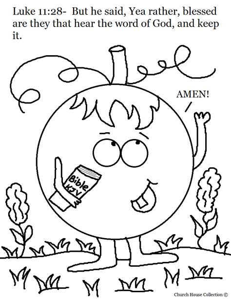 halloween coloring pages for sunday school church house collection blog pumpkin holding his bible