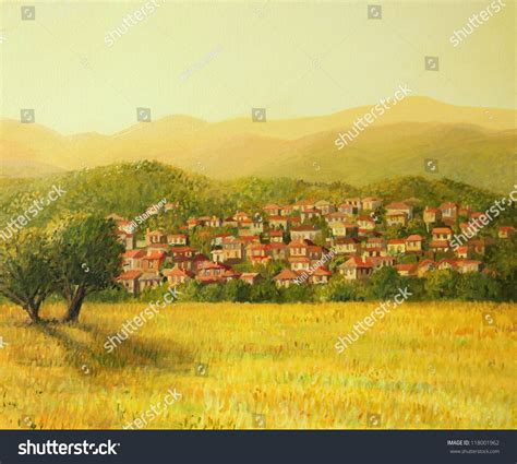 mountain light in search of the dynamic landscape an painting on canvas of a golden rural sunset with a small hiding on the