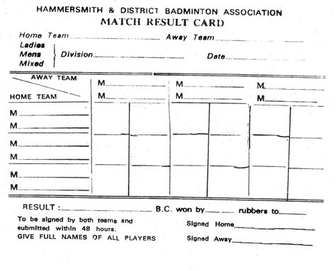 badminton score card template northwood badminton club