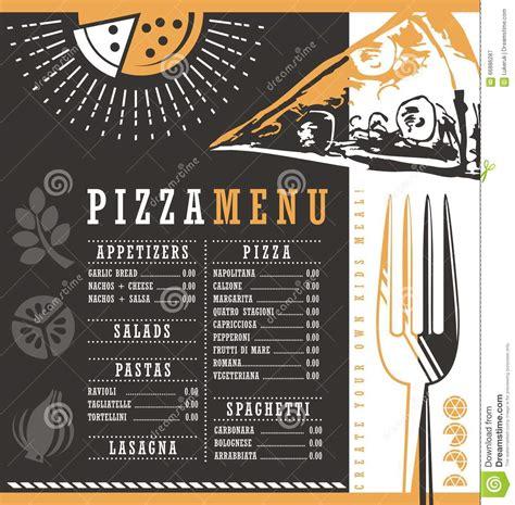 pizzeria menu graphic design idea stock vector image