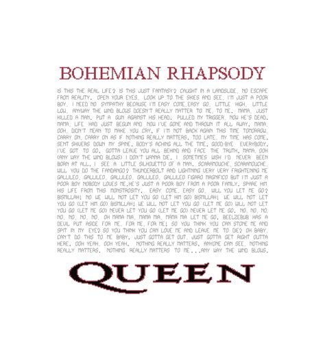 pattern select lyrics bohemian rhapsody lyrics pattern queen song cross stitch