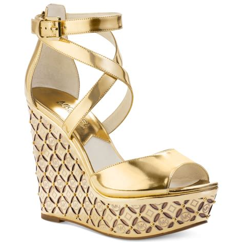 Wedges Gold 1 lyst michael kors michael gabriella platform wedges in