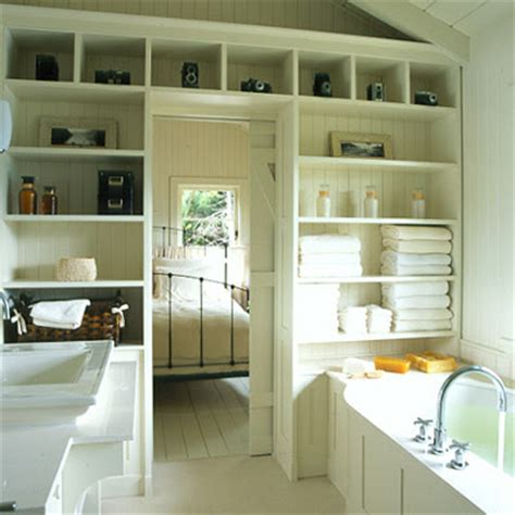 Open Bathroom Shelving And Open Shelves In Bathroom Content In A Cottage