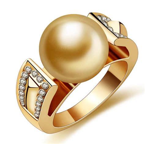 cantik 18 k berlapis emas berlian sintetis cincin mutiara