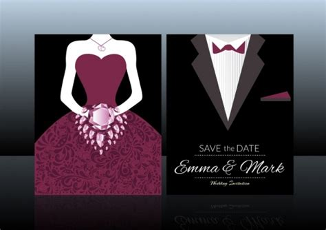 wedding dress and tux card template vector for free about 93 vector