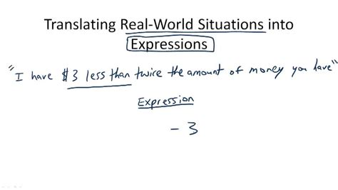 describe pattern in words translating real world situations into expressions overview