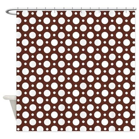 brown polka dot shower curtain cafe brown assorted polka dots shower curtain by starzraven