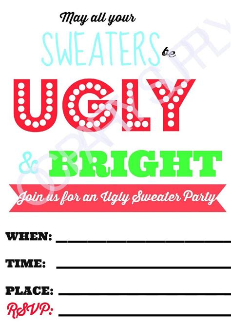Sweater Printable Invitations