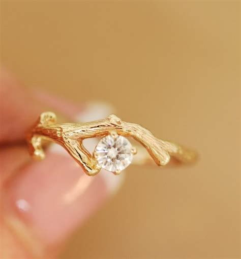 twig ring on pinterest branch ring twig engagement moissanite gold bud branch twig ring engagement ring stone