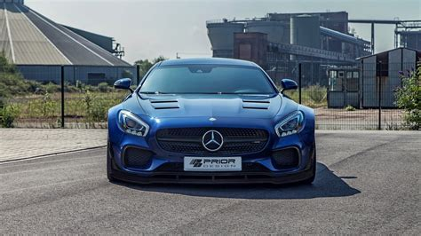 HD Background Mercedes AMG GT Blue Front View Sports Car
