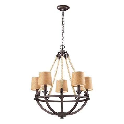 Rope Chandelier Titan Lighting Rope 5 Light Aged Bronze Ceiling Mount Chandelier Tn 10091 The Home Depot