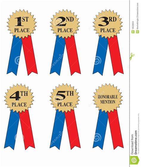 Ribbon Parti Kinds 3th 5th Award Or Winner Ribbons Stock Illustration Illustration