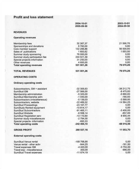 25 exles of profit and loss statements