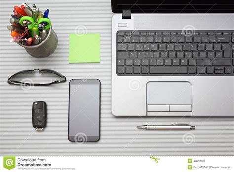 Office Desk Top View Modern Office Desk With Working Accessories Top View