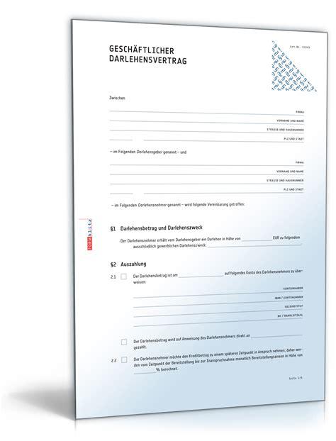 Mahnung Darlehen Muster Gesch 228 Ftlicher Darlehensvertrag