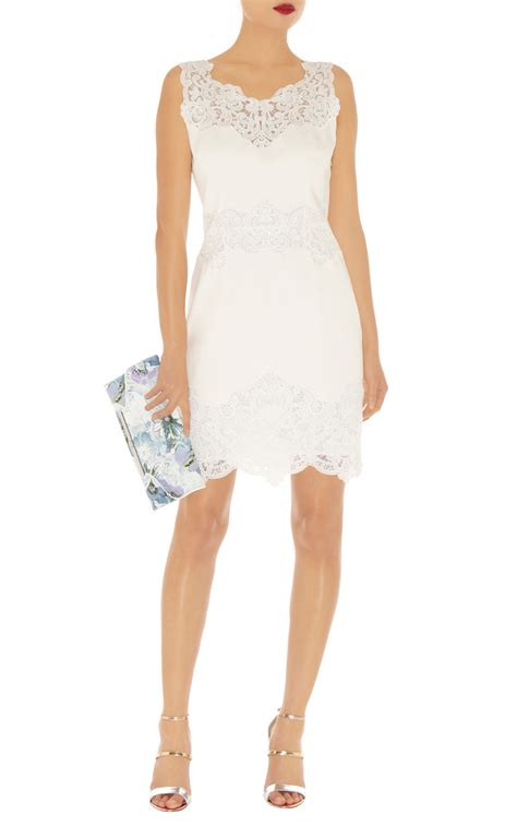 millen cotton lace panel dress in white lyst