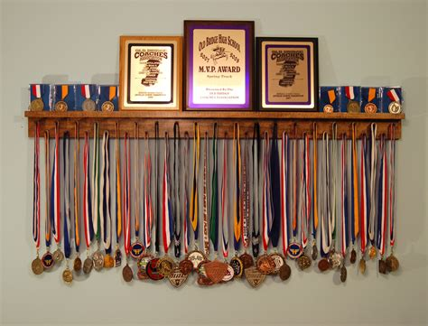 black 4 foot award medal display rack and trophy shelf