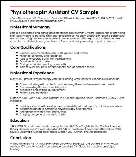 Physiotherapy Receipt Template by Physiotherapist Assistant Cv Sle Myperfectcv