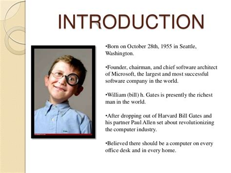 ppt on biography of bill gates bill gates biography childhood life achievements timeline