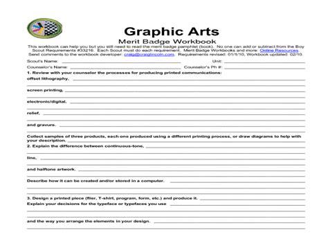Photography Merit Badge Worksheet