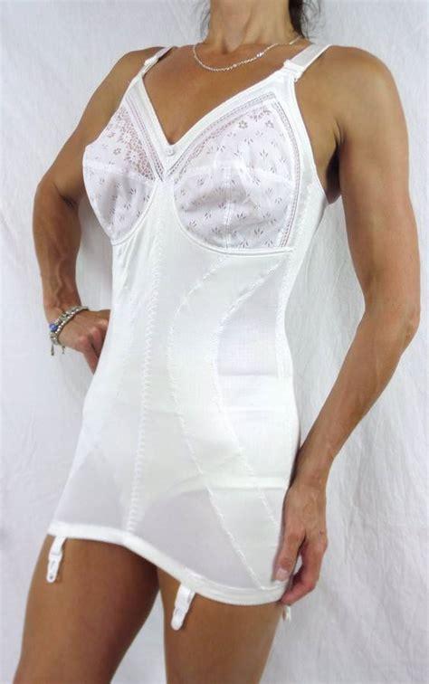 corselettes girdles vintage retro white corselette open bottom girdle