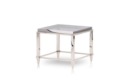 Steel End Table by Modrest Agar Modern Glass Stainless Steel End Table
