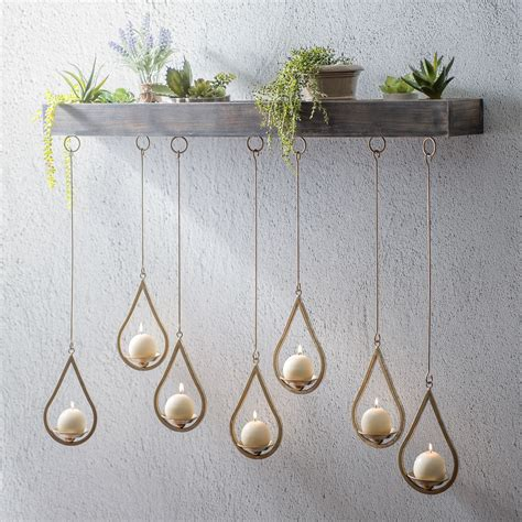 wooden ledge hanging teardrop candle holder your