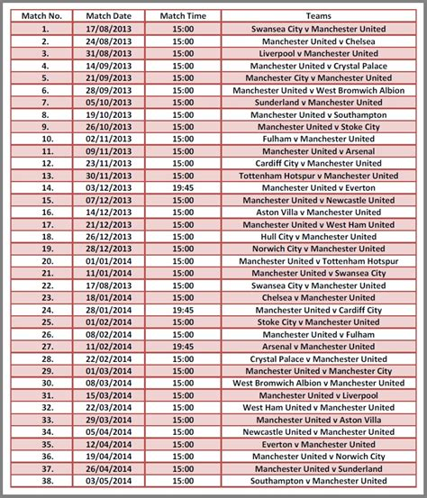epl upcoming fixtures manchester united premier league fixtures 2013 14 bukpocket