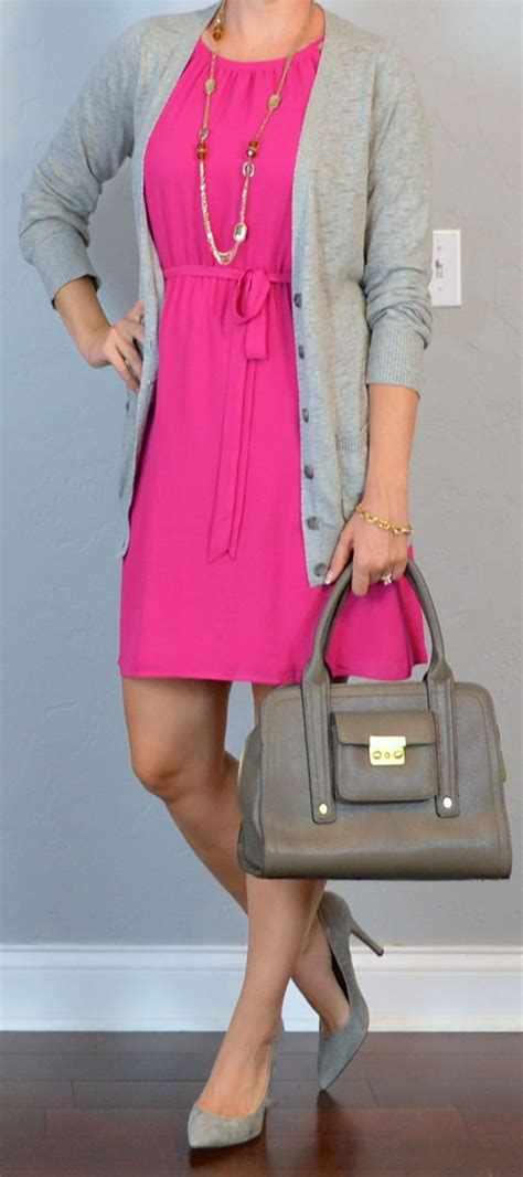 outfit post hot pink dress grey boyfriend cardigan grey