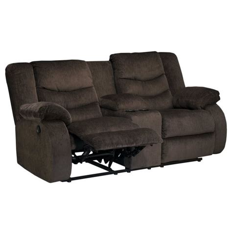 ashley double recliner ashley garek fabric double reclining console loveseat in
