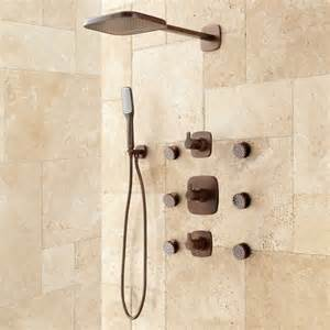 arin thermostatic shower system with shower and 6