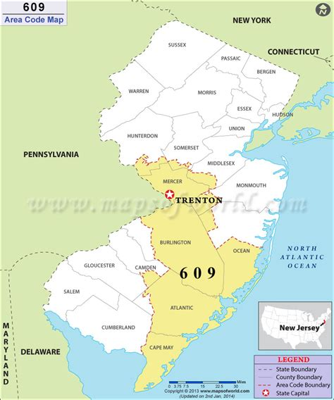 us area code new jersey 609 area code map where is 609 area code in new jersey