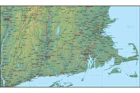 map massachusetts map of massachusetts and the surrounding region