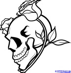 skulls flames roses heart colouring pages