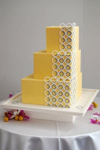 Wedding Pages Inc by Modern Yellow Square Wedding Cakes Photos Pictures