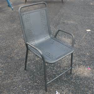 Metal Patio Chairs 2 Vintage Industrial Outdoor Metal Arm Chairs Ebay