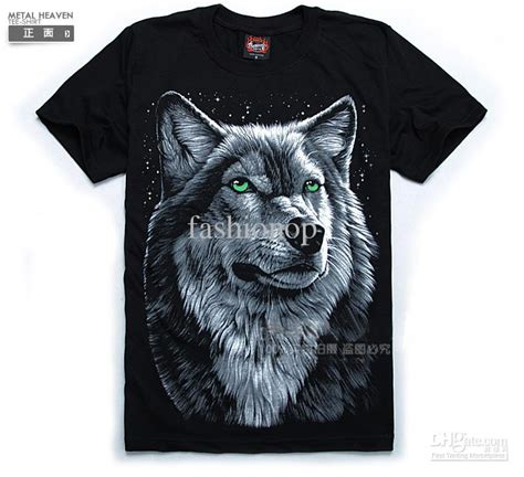 wolf pattern t shirt 2015 fashion men causal t shirt green eyes wolf head