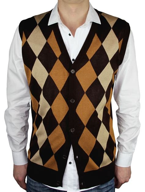 Argyle Wool Blend Knit Top brown argyle sweater vest baggage clothing